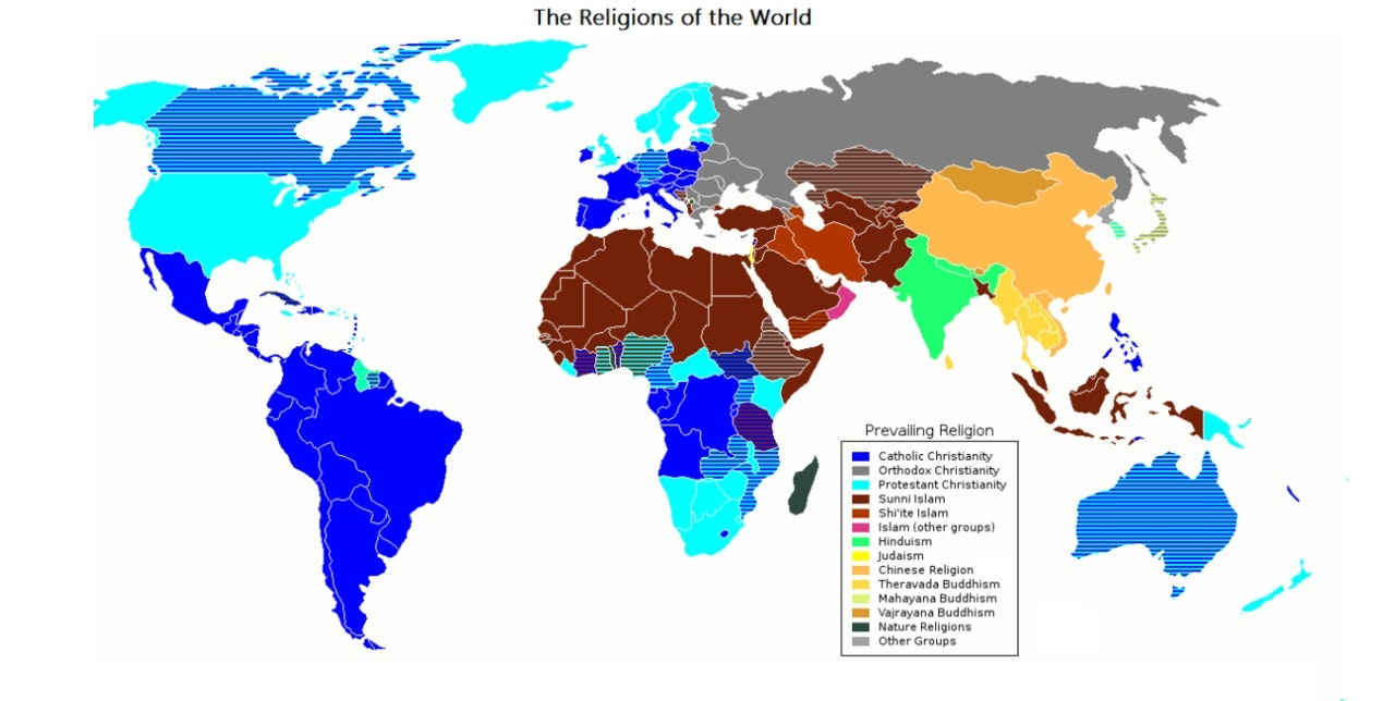 Ap human geography world religions map analysis prevailing world religions map gumiabroncs Image collections